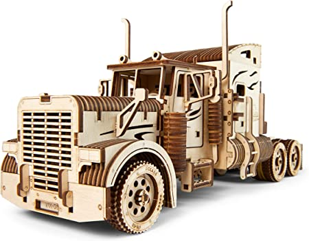 Ugears Combo Offer 2 in 1 – Heavy Boy Truck VM-03 + Trailer for Heavy Boy Truck VM-03 | STEM Learning DIY Kits for Adults | Educational Kit Building Set Wooden Gear Puzzles for Kids