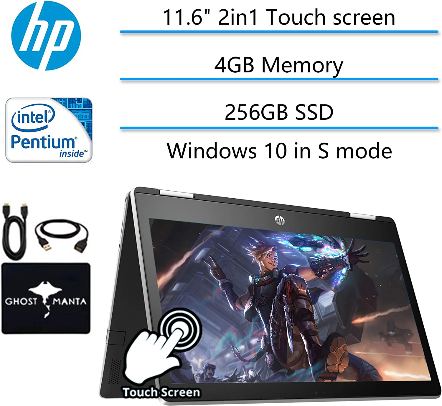 "2020 Newest HP Pavilion x360 2in1 11.6"" Touch-Screen Laptop for Business and Student, Intel Pentium N5000 4-core, 4GB Memory, 256GB SSD, USB Type A&C, Webcam, WiFi, HDMI, Win10, w/GM Accessories"