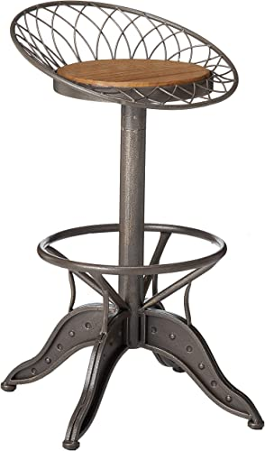 Christopher Knight Home Grayson Weathered Wood Barstool, Grey And Brass
