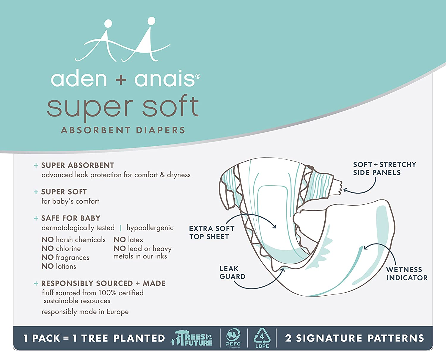 Amazon.com : aden + anais Disposable Diapers, Hypoallergenic, Chemical-Free, Sensitive Skin Safe, Super Absorbent Leak Protection, Ultra Soft, ...