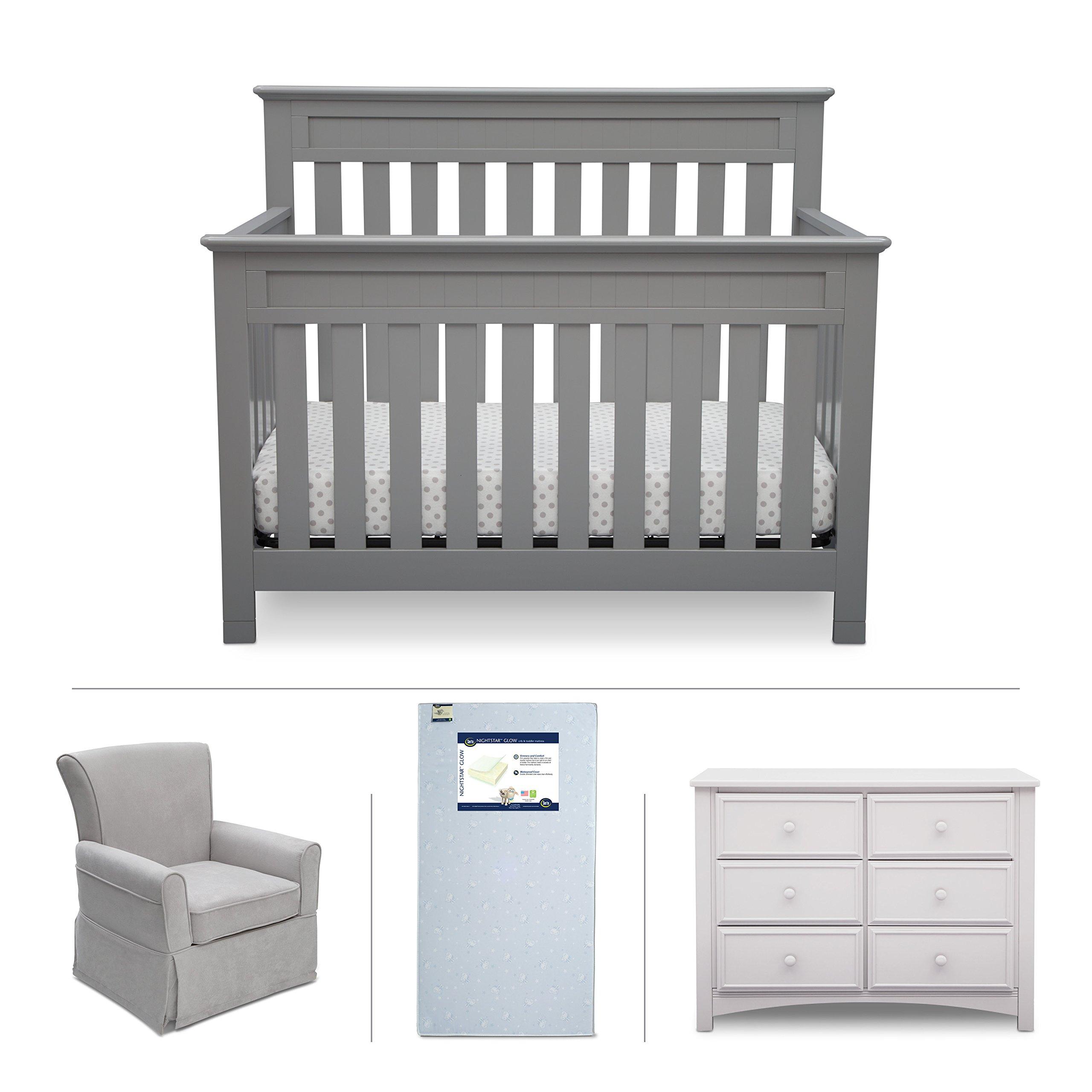Delta Children Chalet 4-Piece Mix & Match Nursery Furniture Set (Convertible Crib, Dresser, Glider, Crib Mattress), Grey and Bianca White