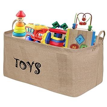 """Amazon.com: Ilyever XXL 22"""" Jute Toy Chest Baskets Storage Bins ..."""