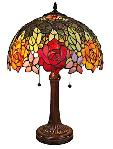 Amora Lighting Tiffany Style Table Lamp Banker 23 Tall Stained Glass Red Yellow Rose Floral Vintage Antique Light D cor Nightstand Living Room Bedroom Office Handmade Gift AM1534TL16B, Multicolor