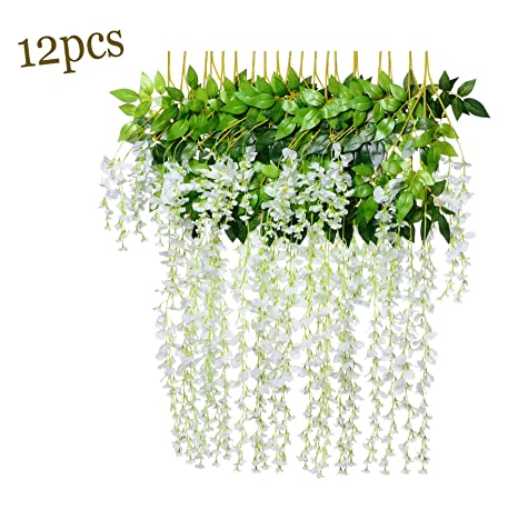 5b95ee51b67 For Jaunty Mood 12 Pack 3.6 Feet/Piece Artificial Fake Wisteria Vine Ratta  Hanging Garland Silk Flowers String Home Party Wedding Decor (White)