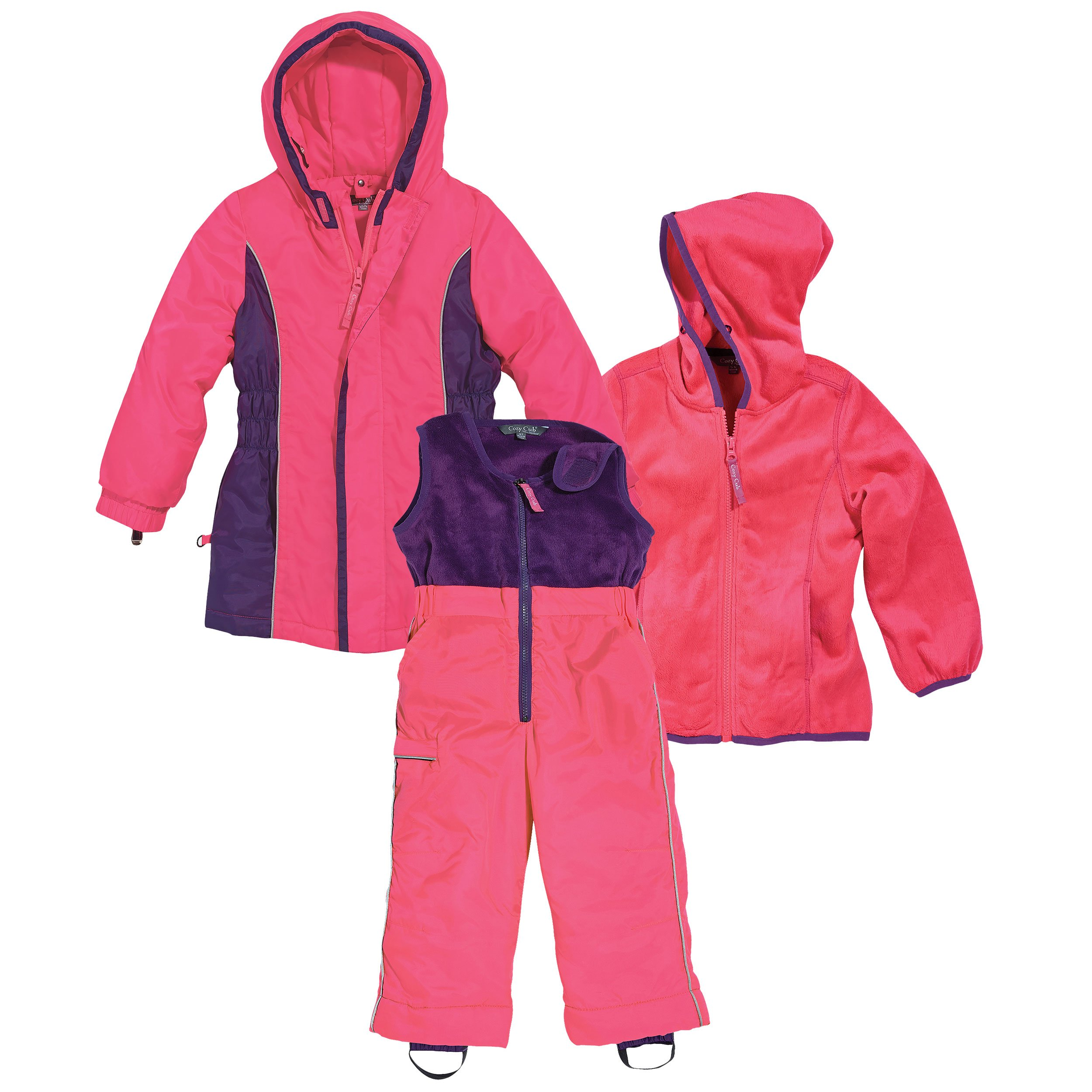 Pink and Purple Girls 3 Piece Winter Snow Suit by Cozy Cub, 18 Months