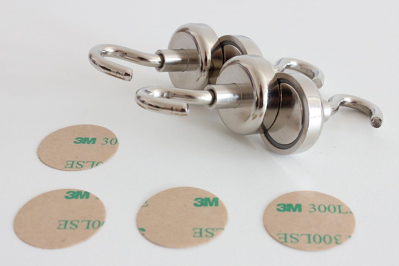 Adh/érence puissante jusqu/à 24 kg Lot de 4/crochets magn/étiques Avecprotection anti-rayures En n/éodyme Pour professionnels 25 mm