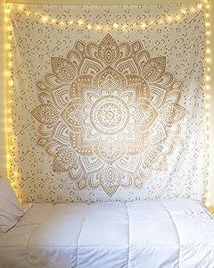 Jaipur Handloom Gold Tapestry Wall Hanging Golden Ombre Tapestry Gold Tapestry Ombre Bedding Mandala Tapestry Gold Multi Color Indian Mandala Wall Art Hippie Wall Tapestry Hanging (Gold, 85x55 Inch)
