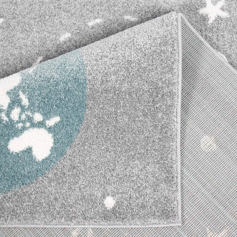 MyShop24h Kinderteppich Teppich Kinderzimmerteppich Kinderzimmerteppich Kinderzimmerteppich Spielteppich Sternen-Teppich Flachflor Weltall Erde Mond Rakete Sterne Grau, Größe in cm 160 x 225 cm B07P8V157C Teppiche & Lufer 3072f2