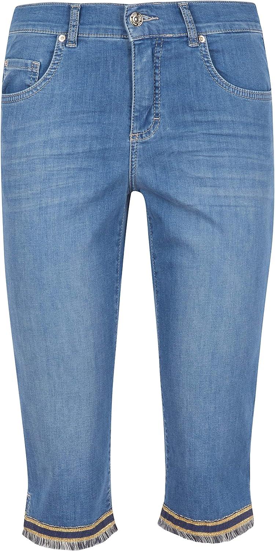 Angels Damen Jeans 'Capri-Fringe' mit gefranstem Beinsaum Blau (3458 Light Blue Used)