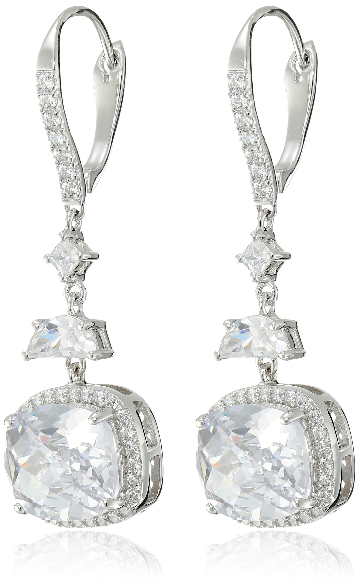 Charles Winston, Sterling Silver, Cubic Zirconia Cushion Cut, Checkerboard Faceted, Drop Earrings, 16.00 ct. tw.