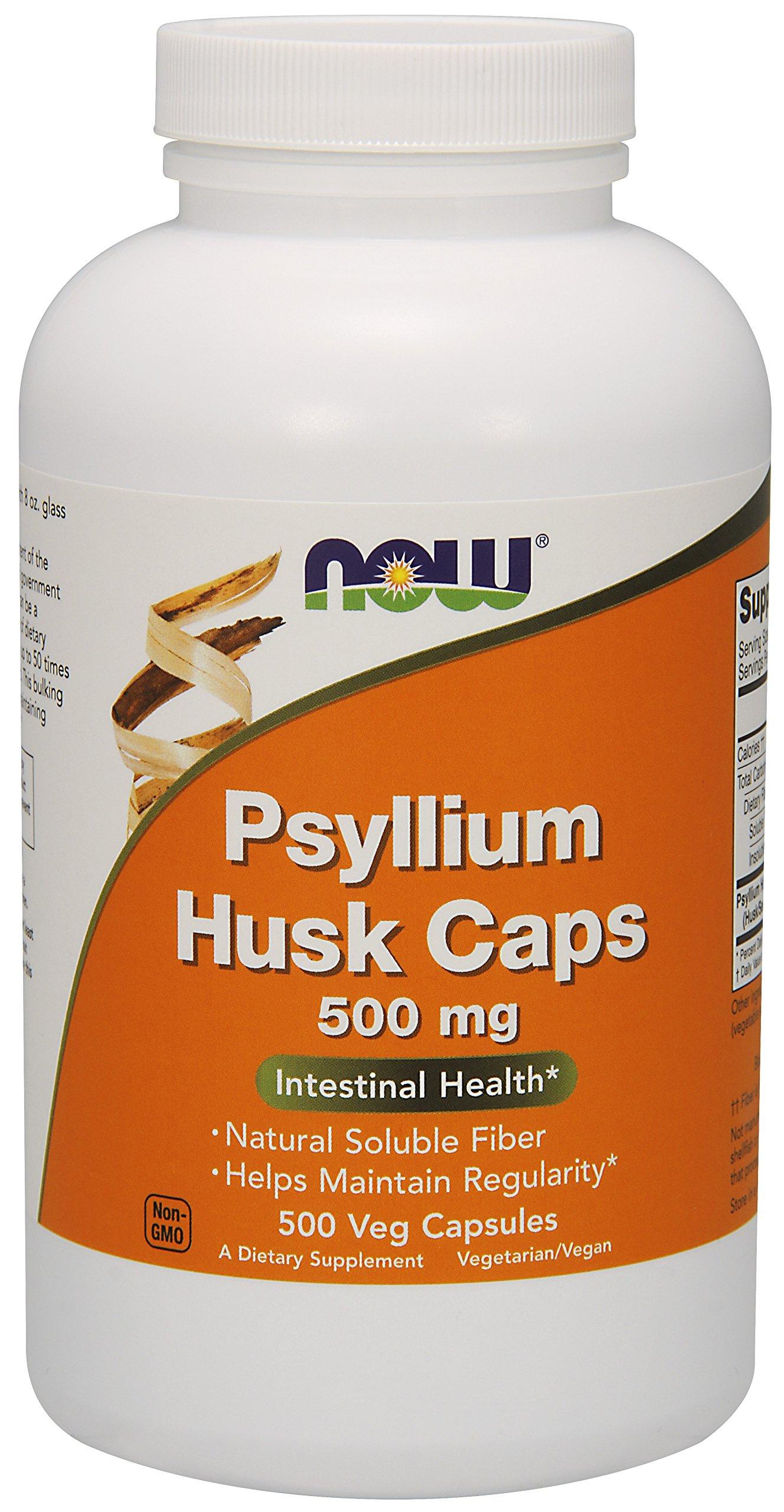 NOW Foods Psyllium Husk 500mg, 500 Capsules , Pack of 3
