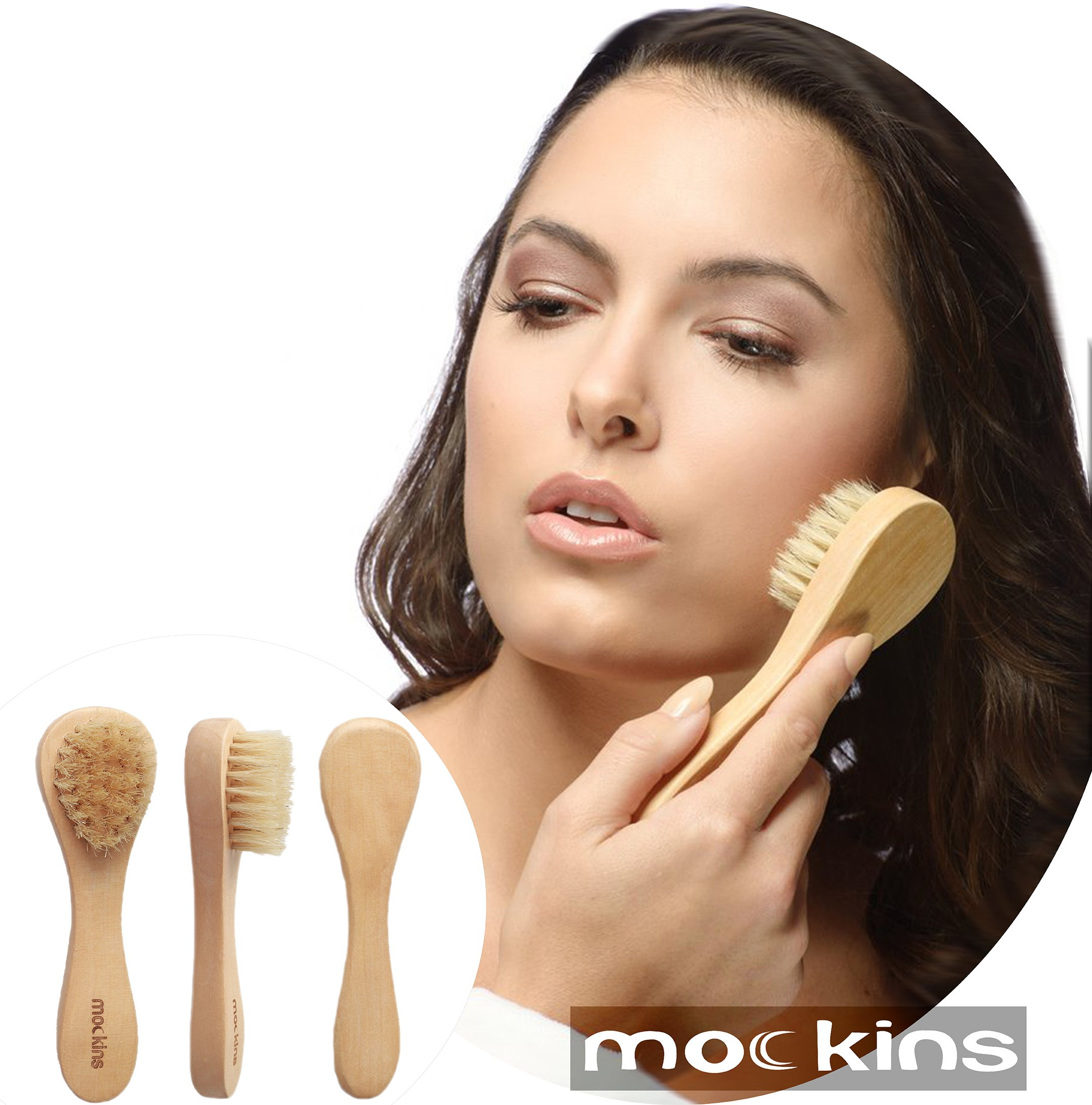 mockins Natural Boar Bristle Body Brush Set With Detachable Cellulite Brush And Long Wooden Handle For Dry Brushing Perfect Kit To Exfoliate And Alleviate Cellulite - Best Mother's Day Gift Set … … by Mockins (Image #5)