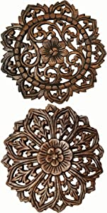 """Asiana Home Decor Set of 2 Round Carved Wood Wall Art. Oriental Carved Lotus Round Wood Plaque in Brown Finish Size 12""""x12""""x0.5"""""""
