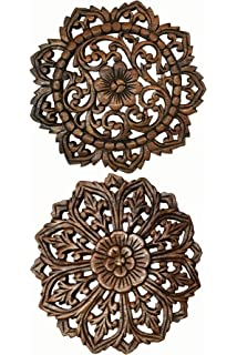Asiana Home Decor Set Of 2 Round Carved Wood Wall Art. Oriental Carved  Lotus Round