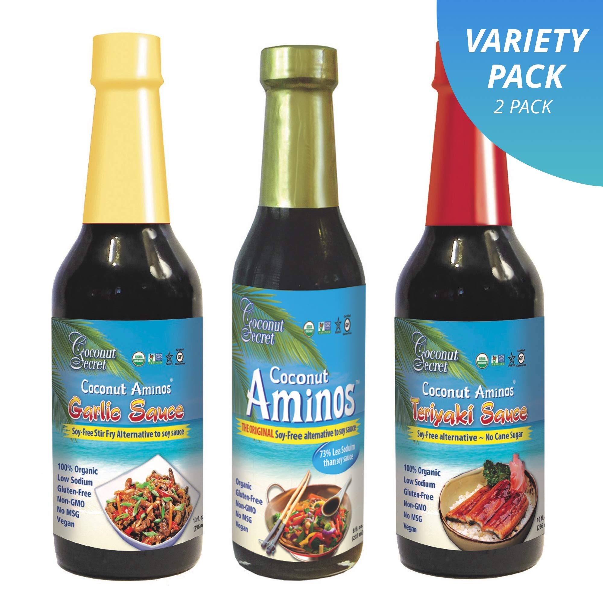 Coconut Secret Coconut Aminos Variety Pack - Coconut Aminos Original, Garlic Sauce & Teriyaki Sauce - 2 Each, 8-10 fl oz - Organic, Vegan, Non-GMO, Gluten-Free, Kosher - 256 Total Servings by Coconut Secret