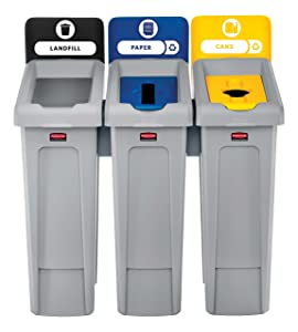 Rubbermaid Commercial Products 2007917 Slim Jim Recycling Station, 3 Stream Landfill/Paper/Bottles Cans