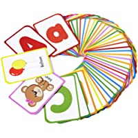 ZazzyKid Alphabet Flash Cards for Kids: Teach Toddler ABC Letters & Words, 52 Double-Sided Cards - Preschool Learning