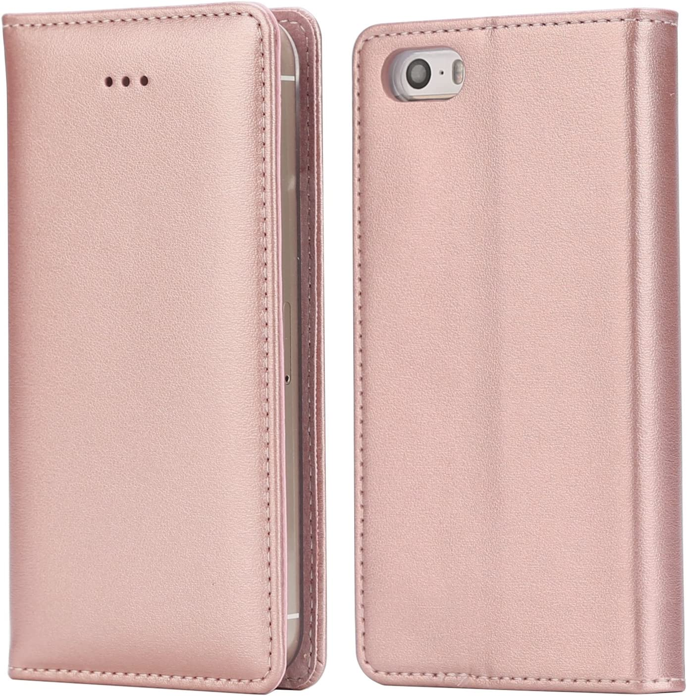 iPhox Case Compatible with iPhone SE 2016 (Not for 2020) / iPhone 5S / iPhone 5, Premium Folio Leather Flip Wallet Phone Case Cover for Apple iPhone SE 2016 / iPhone 5S / iPhone 5, Rose Gold/E