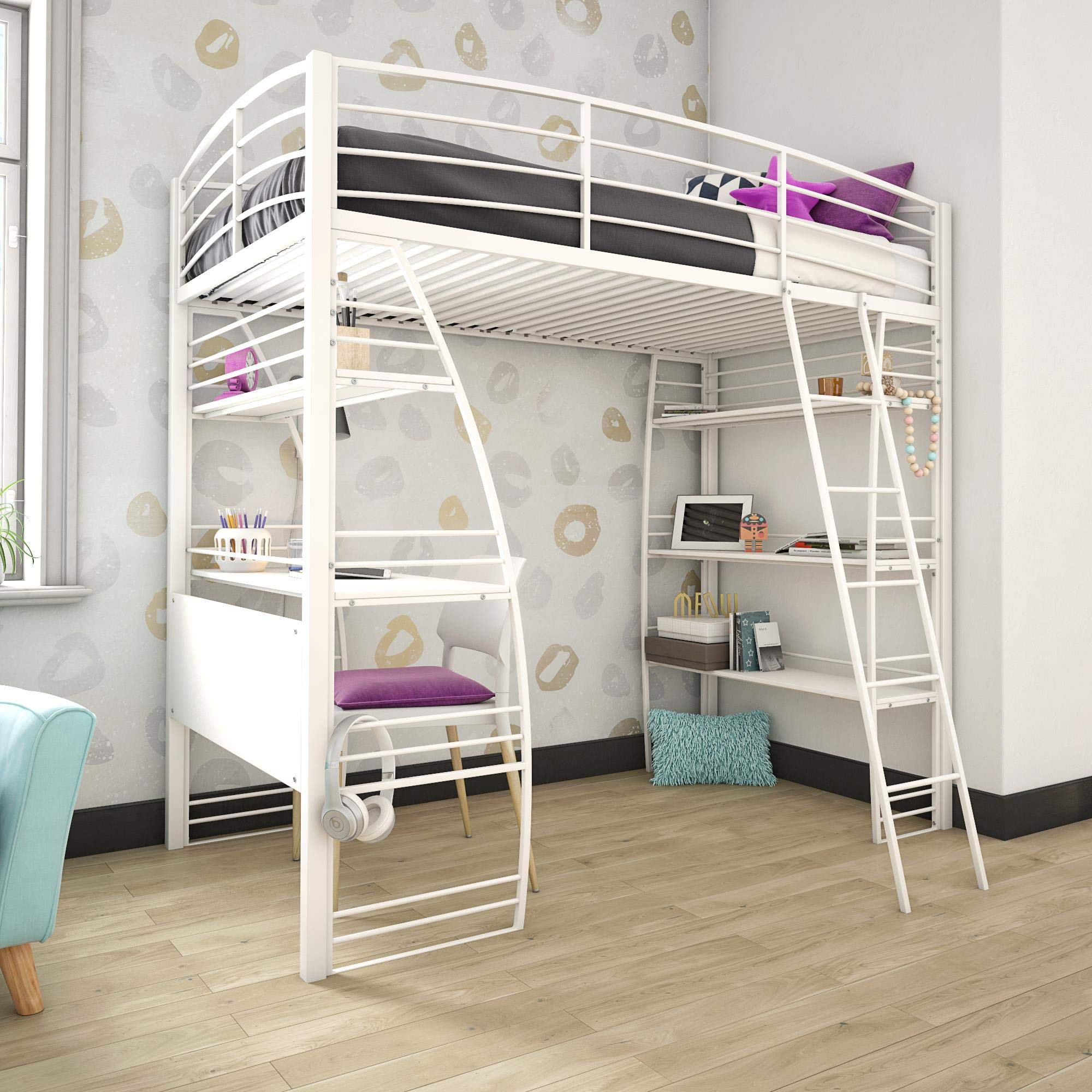 DHP 4016129 Studio Twin Loft Integrated Desk and Shelves, White Bed, by DHP