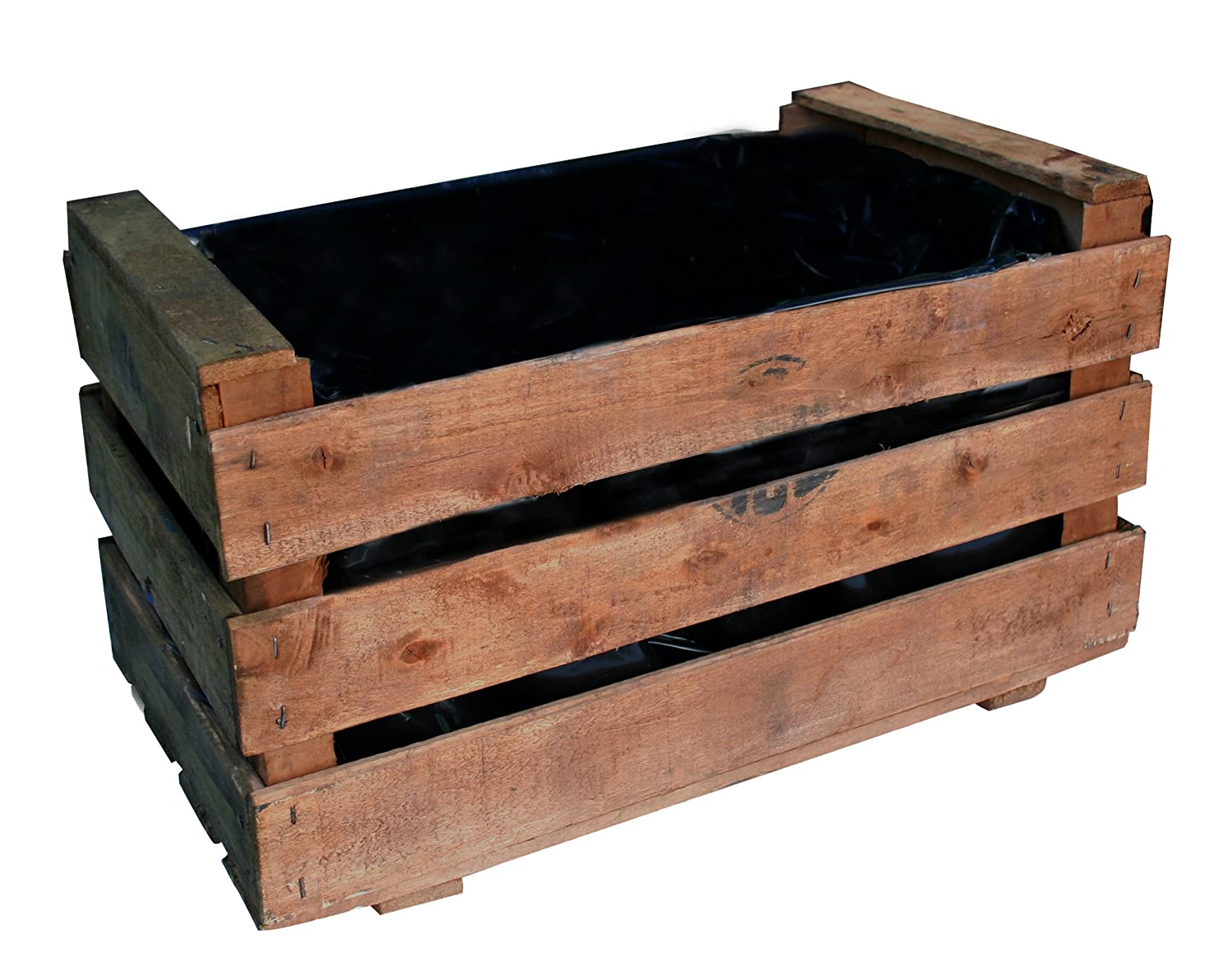 Caja de fruta antigua, jardinera de madera 50x30x27 cm VINTAGEBOX, color natural: Amazon.es: Jardín