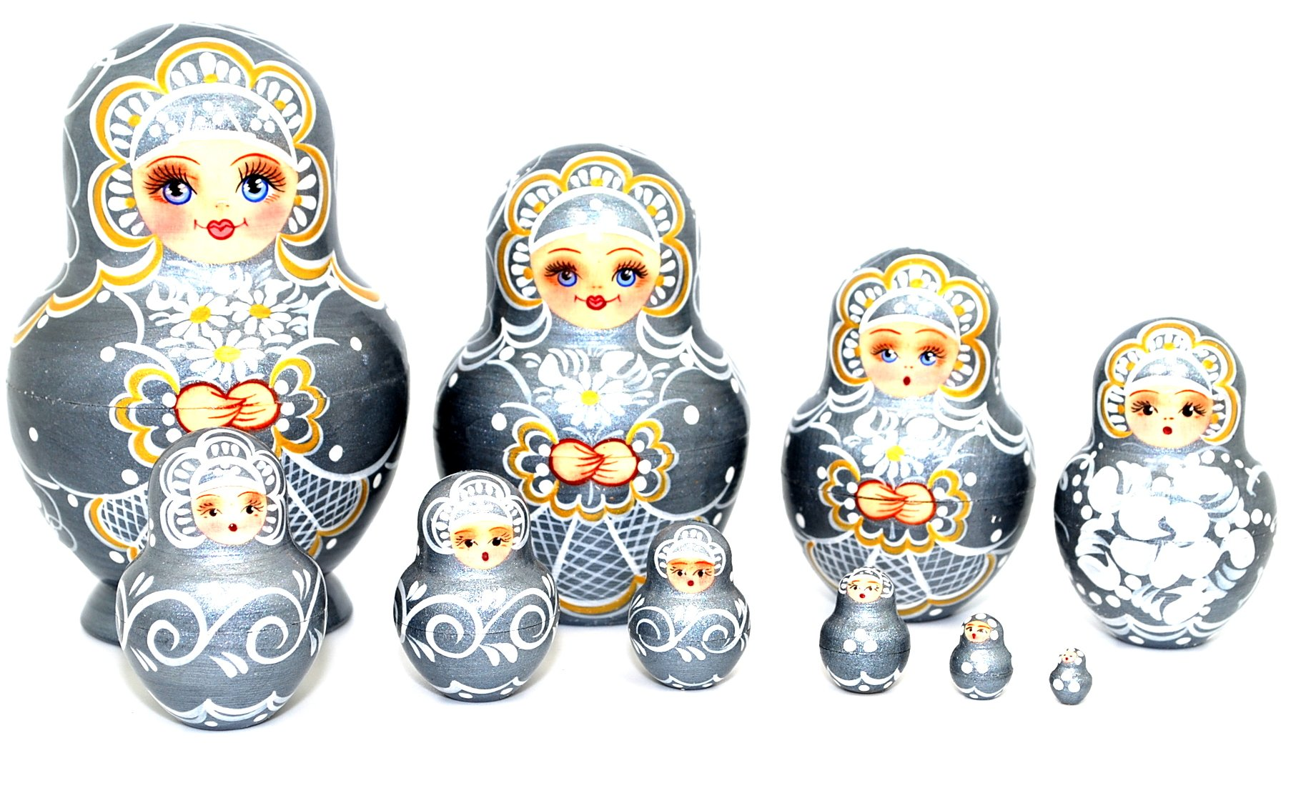 Unique Russian Hand Painted Handmade Silver Nesting Dolls Set of 10 Pcs Floral Artist Signed by GSZ