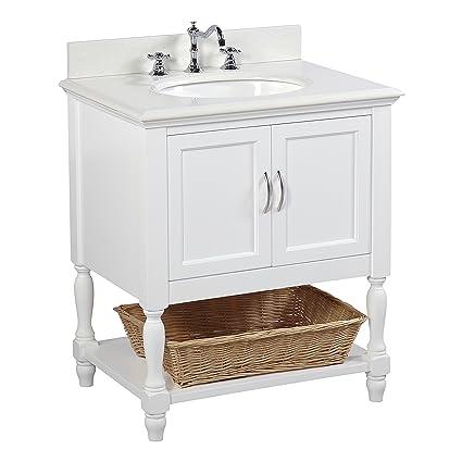 Beverly 30 Inch Bathroom Vanity Quartz White Includes A White