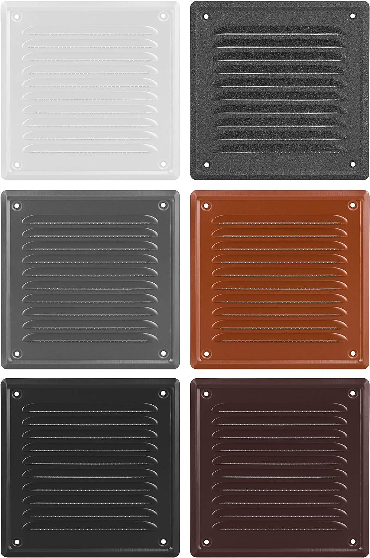 165 x 165 mm color antracita ADGO/® Rejilla de ventilaci/ón de alta calidad de grafito oscuro con rosca para chimenea lacada rejilla de escape resistente a la corrosi/ón