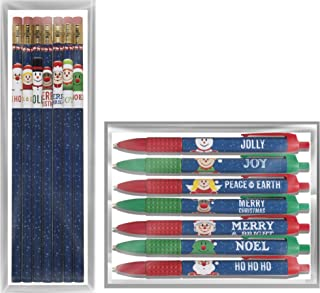 product image for Toys For Tots Holiday Pencil/Pen Set – 7 USA Made #2 Pencils and 7 Black Ink Pens with Fun Christmas Designs, perfect kid's gift stocking stuffer or for school, home or office
