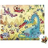 Janod - J02763 - Valisette Ronde Puzzle 54 pièces - Dragons