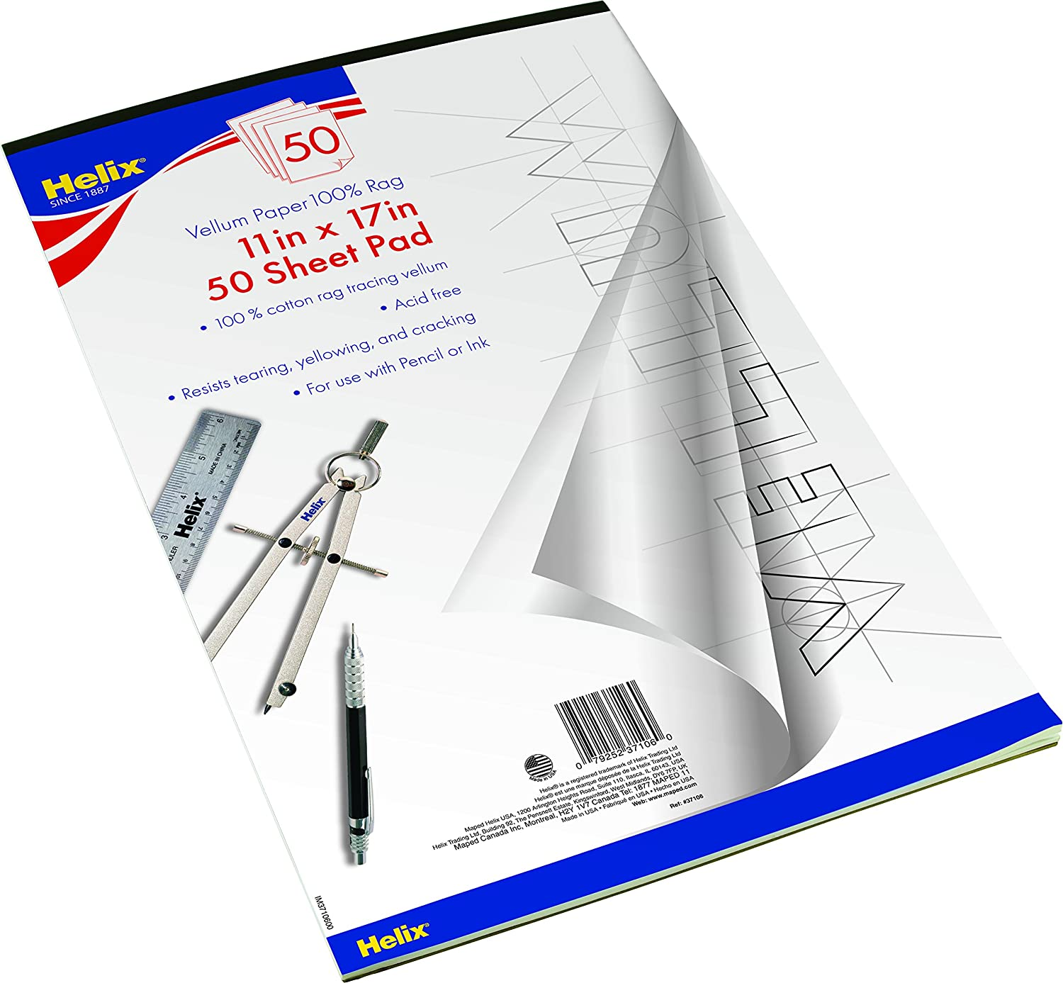 Amazon helix vellum paper pad 100 rag 11 inch x 17 inch 50 amazon helix vellum paper pad 100 rag 11 inch x 17 inch 50 sheets 37106 art supplies office products malvernweather Images