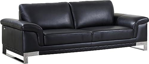 Blackjack Furniture 411 Weston Collection Italian Leather Living Room, Sofa, Black