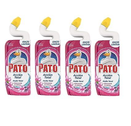 Pato WC Acción Total - Limpiador para inodoro, Frescor Floral, 4 x 750 ml