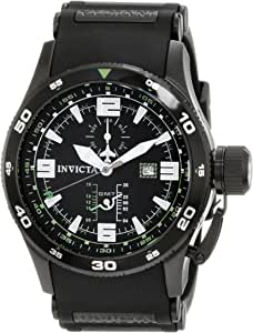 Invicta Men's 1759 Aviator Flight GMT Black Dial Black Polyurethane Watch