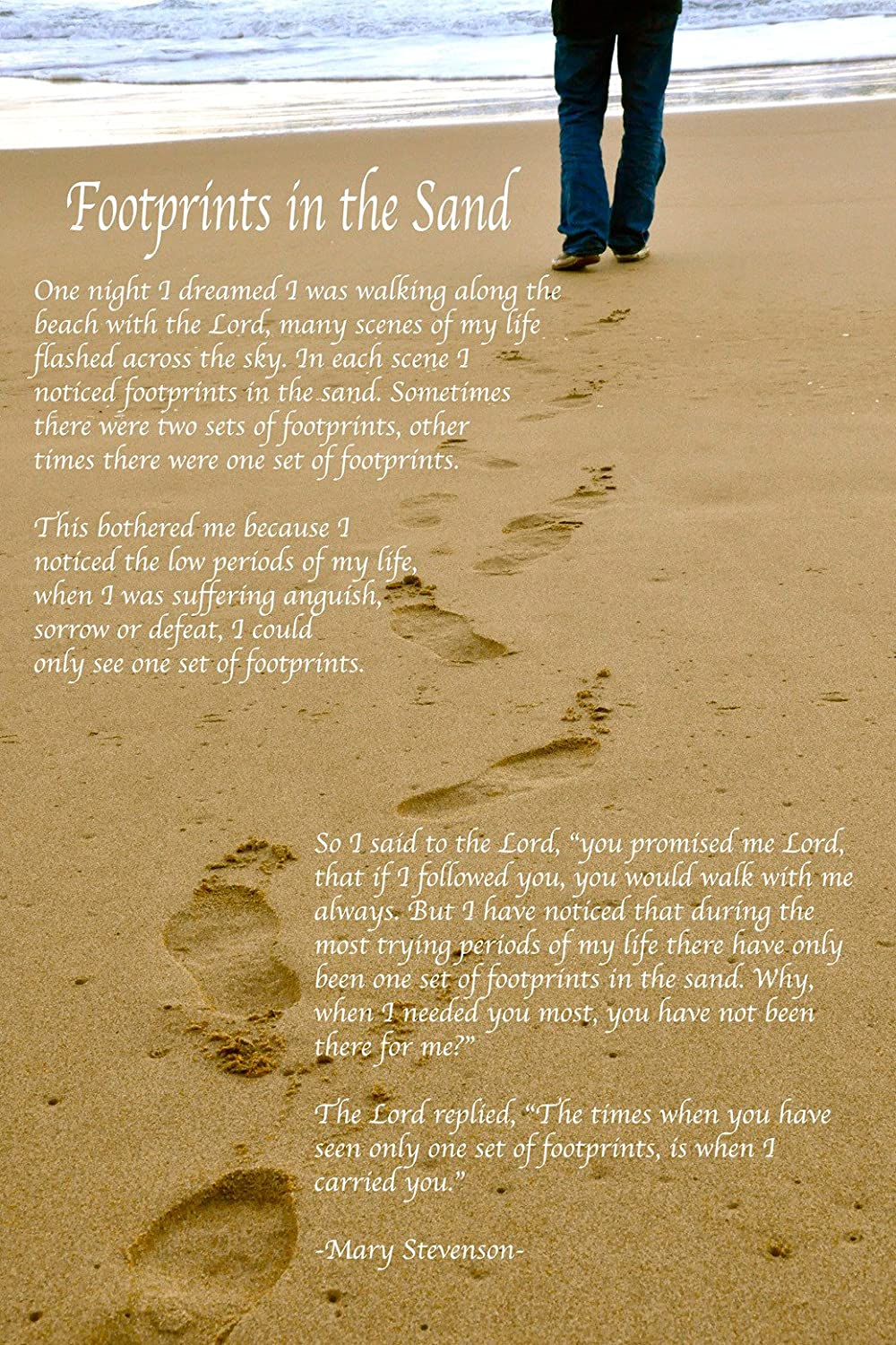 Amazon.com: Inspirational Footprints Poem in the Sand Poster 24 inch ...