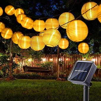 BrizLabs Farolillos Solares Exterior 6m 30 LED Guirnaldas Luces Exterior Solares Blanco Cálido Cadena de Luces Linternas Exteriores para Decoración Jardines, Navidad, Casa, Fiestas, Bodas, Patio: Amazon.es: Iluminación