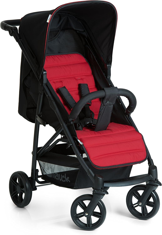 Hauck Rapid 4 Silla deportiva con respaldo reclinable para Bebés, desde nacimiento hasta 15 kg/4 años, Capacidad de carga 25 kg, Negro/Rojo
