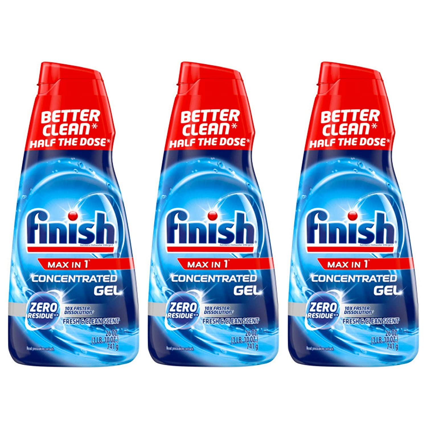 Finish Max in 1 Dishwasher Detergent Concentrated Gel, 26 oz, 32 Washes, Fresh & Clean Scent (Pack of 3)
