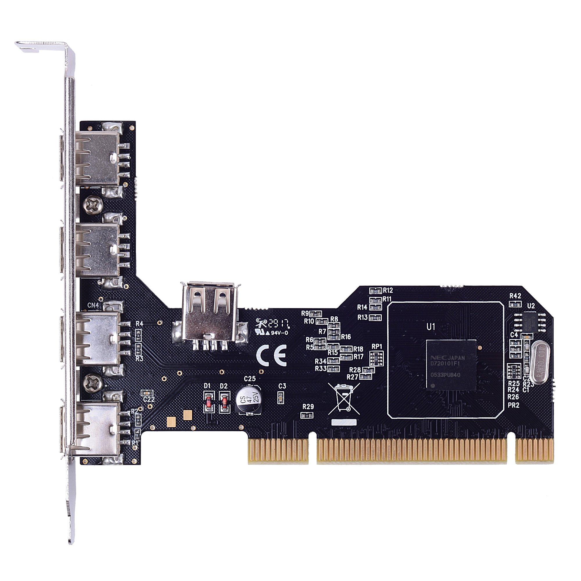 INTEFIRE 5 Port USB 2.0 PCI Expansion Card, 4 External & 1 Internal USB 2 Multi I/O Hub Controller Adapter, PCI Express to USB 2.0 Card for Desktop PC