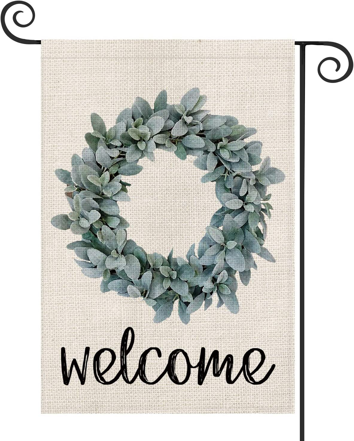 AVOIN Welcome Lamb's Ear Grapevine Wreath Garden Flag Vertical Double Sided, Spring Summer Farmhouse Flag Yard Outdoor Decoration 12.5 x 18 Inch