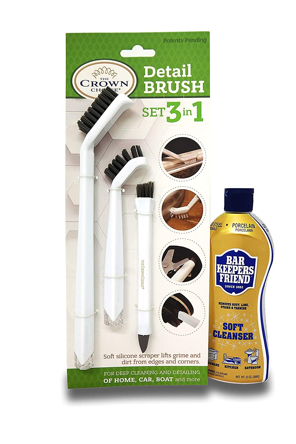 BAR KEEPERS FRIEND Soft Cleanser (13 OZ) with All Purpose Scrubber Cloth   Durable and Multipurpose. Cleans Stainless Steel, Rust, Minerals