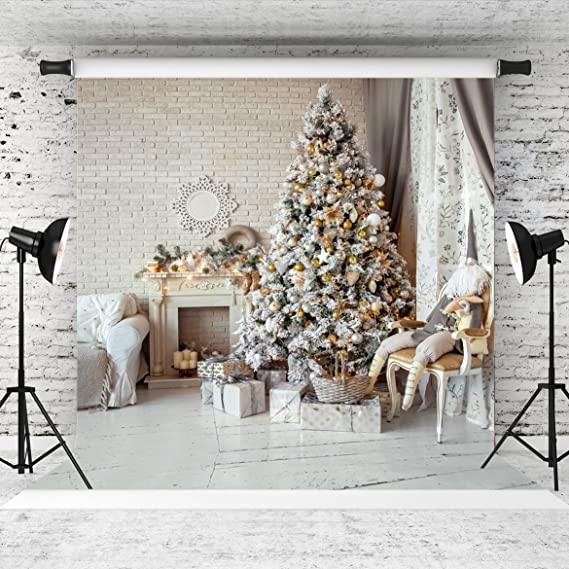 7x10 FT Christmas Vinyl Photography Background Backdrops,Tree with Tinsel and Ball with Present Wrap Ribbon Celebration Picture Background Newborn Baby Portrait Photo Studio Photobooth Props