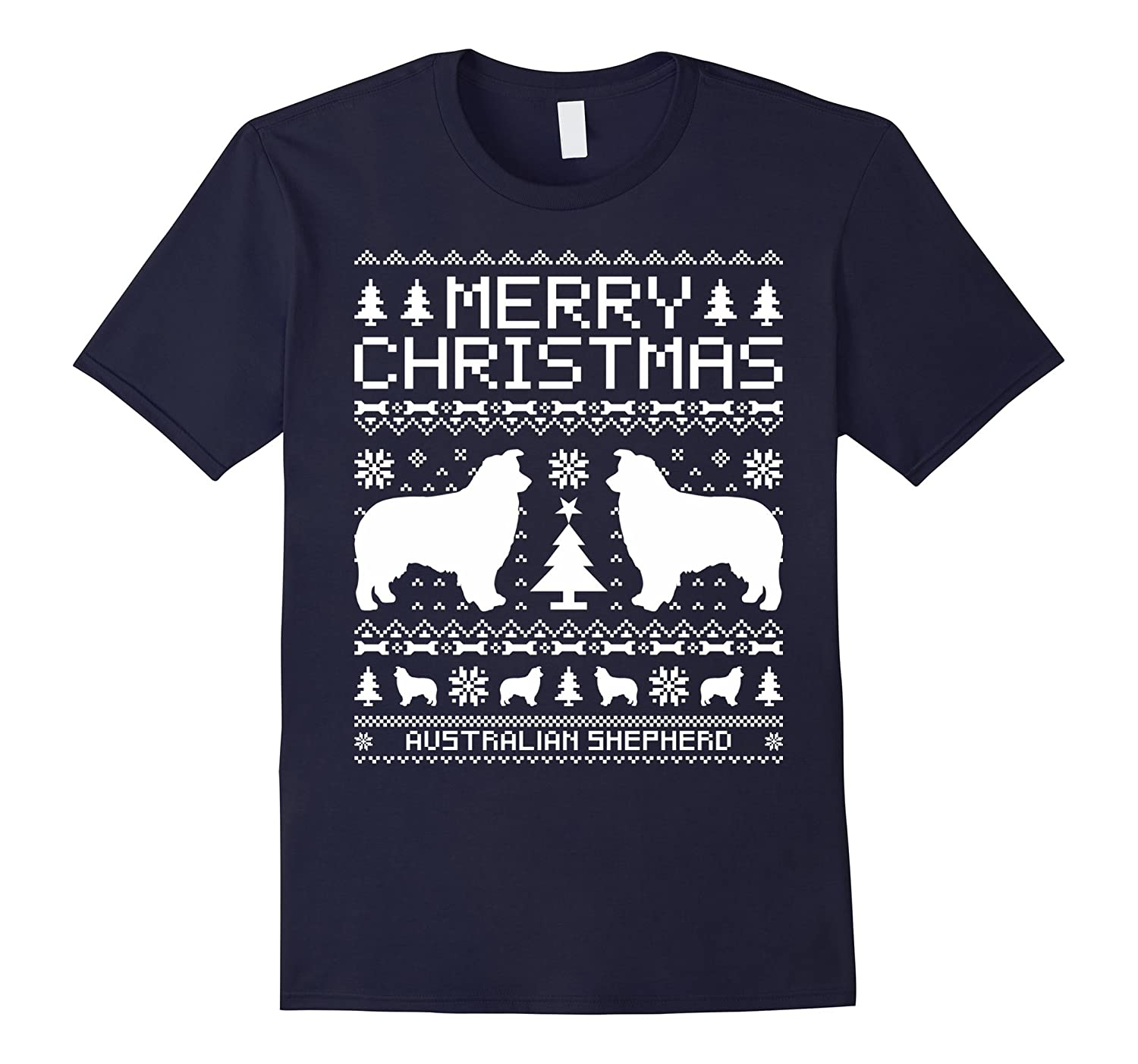 Australian Shepherd Dog Merry Christmas T-shirt-CL