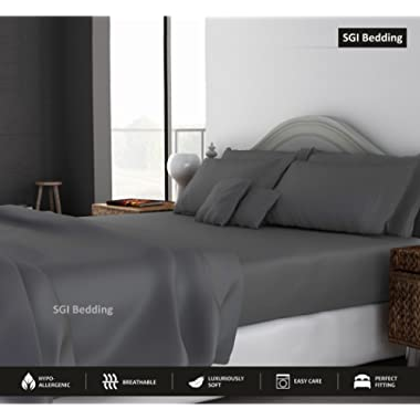 KING SIZE SHEETS LUXURY SOFT 100% EGYPTIAN COTTON - Sheet Set for King Mattress Dark Gray SOLID 600 Thread Count 15  Deep Pocket # Exotic Bedding Collection