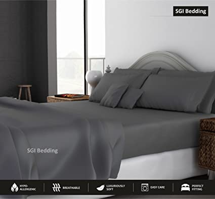 KING SIZE SHEETS LUXURY SOFT 100% EGYPTIAN COTTON   Sheet Set For King  Mattress Dark