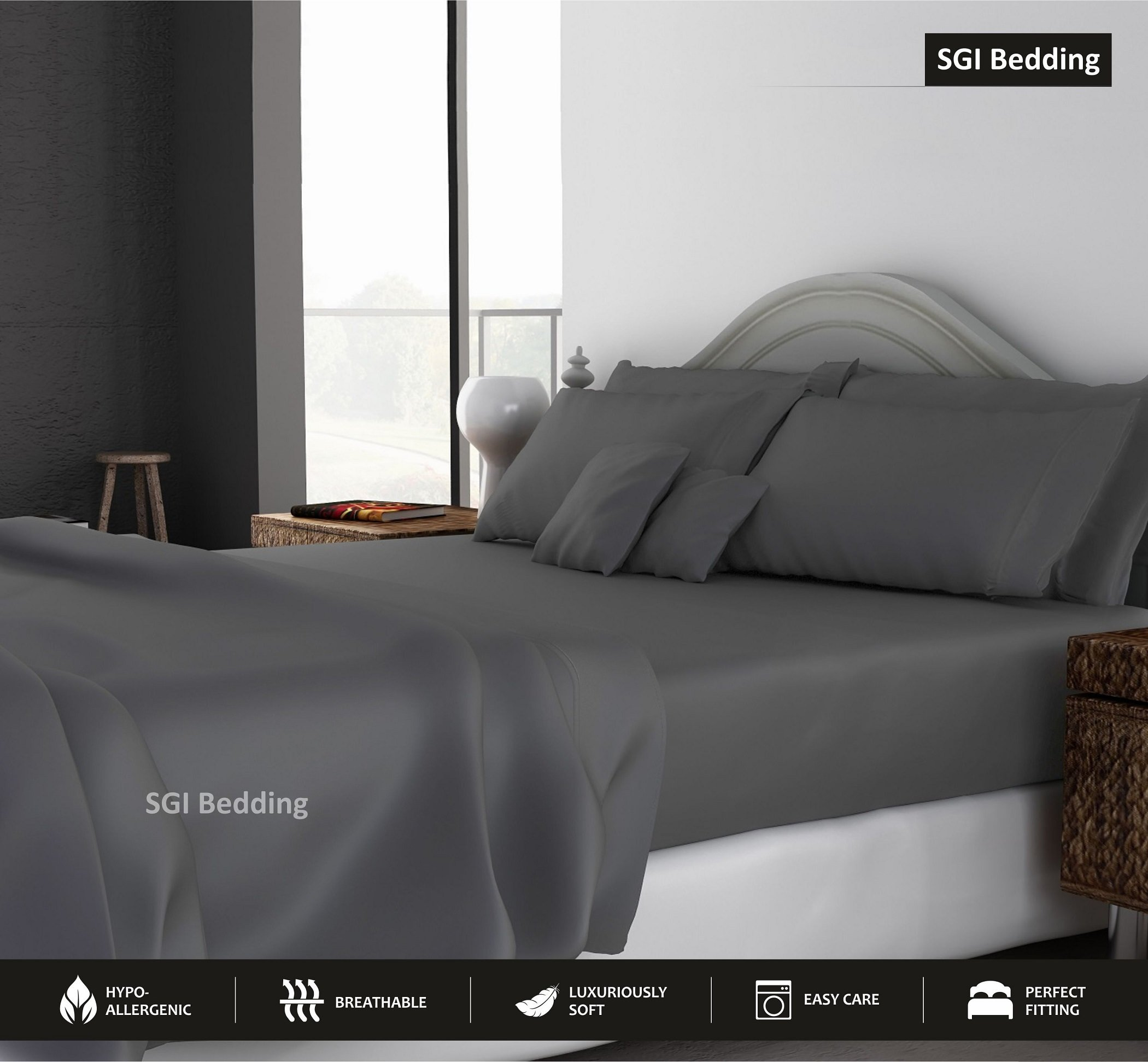 QUEEN SHEETS LUXURY SOFT 100% EGYPTIAN COTTON - Sheet Set for Queen Mattress Dark Gray SOLID 600 Thread Count 15'' Deep Pocket # Exotic Bedding Collection