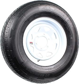 Amazon Com Radial Trailer Tire On White Rim St235 80r16 Load E 6 Lug On 5 5 Spoke Wheel Automotive