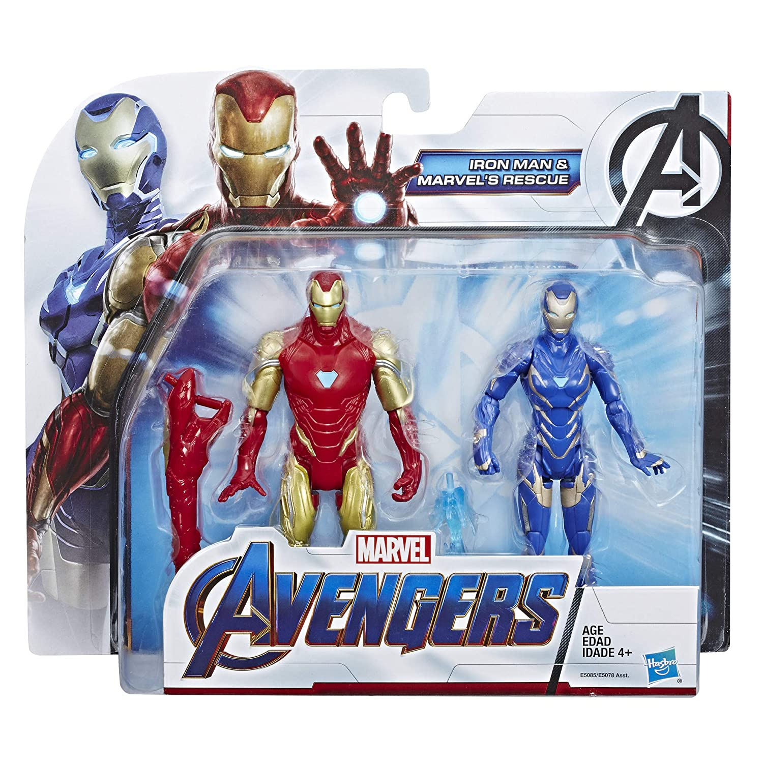 Avengers Marvel Endgame Iron Man and Marvel/'s Rescue Figure 2-Pack Toy Characters from Marvel Cinematic Universe MCU Movies