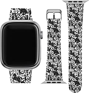 Lex Altern Band Compatible with Apple Watch Series 6 SE 5 4 3 2 1 38mm 40mm 42mm 44mm Print Cute Animals Native American Durable Thin Tribal Replacement Strap for iWatch Wristband Aztec PU wh075