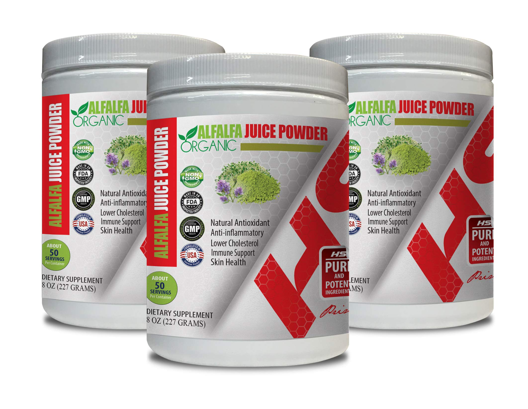 Immune System Herbal - Alfalfa Juice Organic Powder - superfood Powder Organic - 3 Cans 24 OZ (150 Servings)