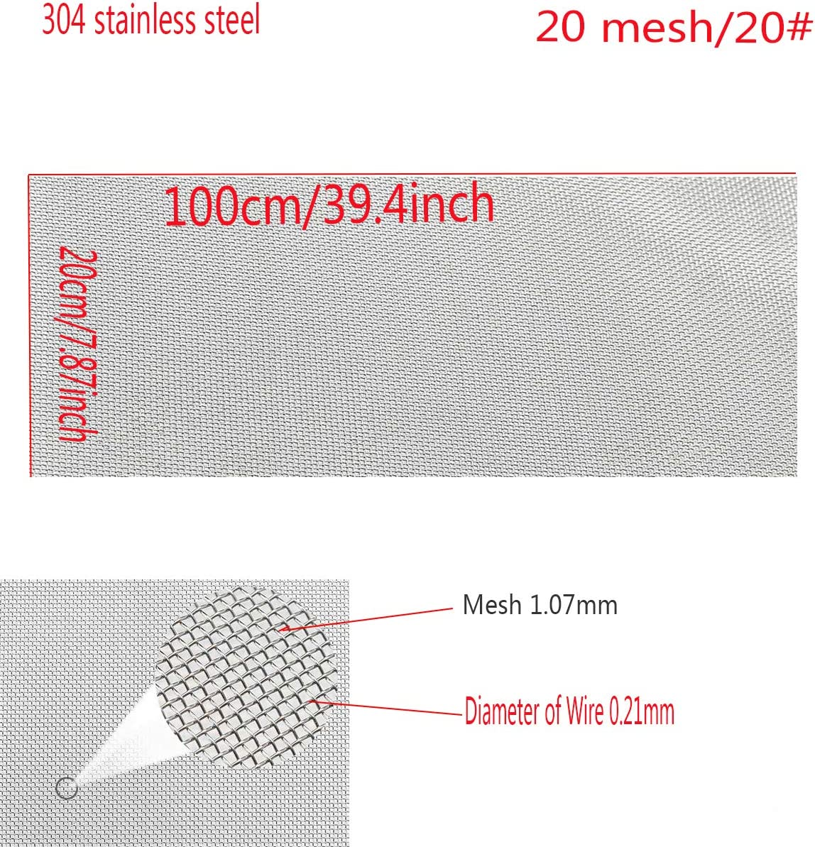 SOFIALXC 304 en Acier Inoxydable Fil Tiss/é Maille Fine /écran en Acier 20 Maille 20x100 5pcs